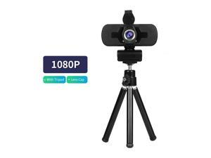 1080P HD Wide-angle Webcam Video Conference Camera USB Plug & Play with Lens Cap & Tripod for Laptop Desktop TV Box