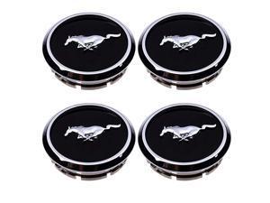 4pcs Wheel Center Hub Caps Covers Black Chrome Pony Emblem for 2005-2014 Mustang