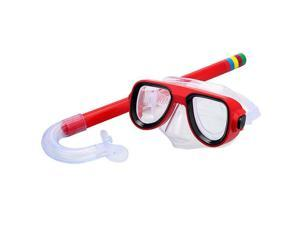 Kids Diving Mask Snorkel Set Anti Fog Goggles Swimming Dry Tube Snorkeling Mask Silicone Freediving Spearfishing for Children Youth Boys and Girls Red