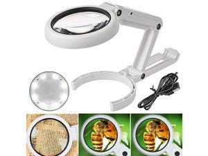 5X 10X LED Illuminated Magnifying Glass Lighted Magnifier for Desktop Reading Jewelry Watch & Computer Repair Tool