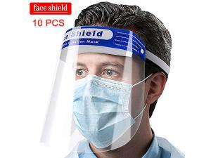 10PCS Clear Transparent Safety Full Face Shield Guard Protector Mask Clear + Head Band Elastic Reusable Face Protective Visor for Eye Head Protection Anti-Spitting Splash Facial Cover for Women Men