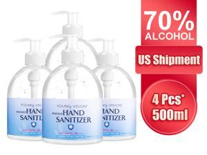 4*16.9oz.(500ml) Hand Sanitizer Gel with 70% Alcohol Based Household Hand Sanitizer Hand wash Antibacterial Hand wash gel Sanitizer  Total 67.6oz