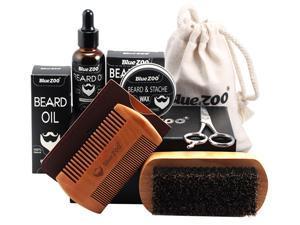 Beard Kit for Men, Beard Grooming Kit for Men Gift Set, Upgraded Beard Growth Kit - Beard Oil, Beard Wax, Beard Brush, Beard Comb, Beard Scissors Luxury Gift Box