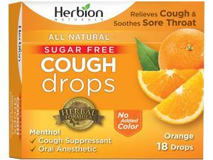 Herbion Naturals Sugar-Free Cough Drops with Natural Orange Flavor, 18 Drops, Oral Anesthetic - Relieves Cough, Throat, and Bronchial Irritation, Soothes Sore Mouth, For Adults and Children
