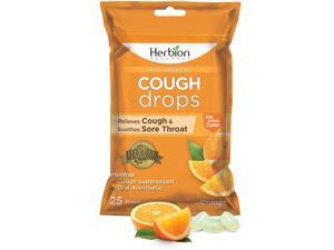 Herbion Naturals Cough Drops with Natural Orange Flavor, 25 Count, Oral Anesthetic - Relieves Cough, Throat, Bronchial Irritation, Soothes Sore Mouth, for Adults and Children
