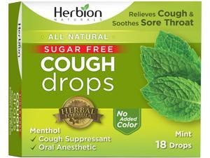 Herbion Naturals Sugar-Free Cough Drops with Natural Mint Flavor, 18 Drops, Oral Anesthetic - Relieves Cough, Throat, Bronchial Irritation, Soothes Sore Mouth, for Adults & Children