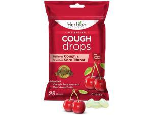 Herbion Naturals Cough Drops with Natural Cherry Flavor, 25 Count, Oral Anesthetic - Relieves Cough, Throat, Bronchial Irritation, Soothes Sore Mouth, for Adults and Children