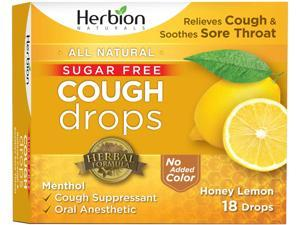 Herbion Naturals Sugar-Free Cough Drops with Natural Honey Lemon Flavor, 18 Drops, Oral Anesthetic - Relieves Cough, Throat, and Bronchial Irritation, Soothes Sore Mouth, For Adults and Children