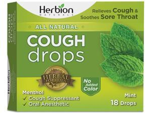 Herbion Naturals Cough Drops with Natural Mint Flavor, 18 Drops, Oral Anesthetic - Relieves Cough, Throat, Bronchial Irritation, Soothes Sore Mouth, for Adults and Children