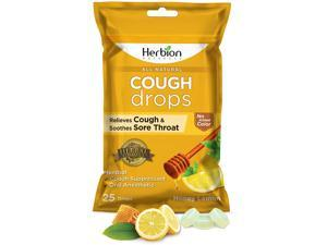 Herbion Naturals Cough Drops with Natural Honey Lemon Flavor, 25 Count, Oral Anesthetic - Relieves Cough, Throat, Bronchial Irritation, Soothes Sore Mouth, for Adults and Children