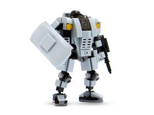 MyBuild Mecha Frame Series Base Defender MF05-A01 Mech Suit with a Shield Armor Robot Gray Bricks Action Figure Easy to Build and Pose Building Kit includes a Mini Army Pilot
