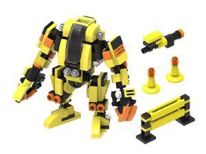 MyBuild Mecha Frame Series Engineer T2 5014 Mech Suit Yellow Robot Bricks Cabin Design Great Articulation Action Figure 5 Inches Height Bricks Building Toy Set