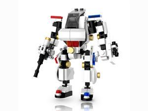 MyBuild Mecha Frame Series Riot Police 5013 Mech Suit White Bricks Robot Blocks Cabin Fit for a Minifig Great Articulation Action Figure 5 inches Height Bricks Building Toy