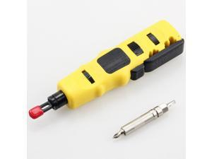 Yankok [Multi-Function Punch Down Tool] with 66/110/88 Blade and Screwdriver, Built-in Swing-out Hook, Spudger and Stripper Tool, Adjustable Impact Force Setting (Lo/Hi) Cuts and Terminates Cables