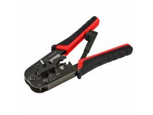 Yankok [RJ45 RJ12 RJ11 Modular Crimper] for Cat5 Cat5e Cat6 Network Connectors Ethernet Cable Plugs Strip Cut and Crimp Tool Black and Red Handle (Ratcheting Mechanism. Easy to Storage)