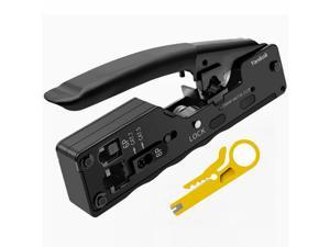 Yankok [CAT5 CAT6 CAT7 Pass Through Crimper] for EZ-RJ45 and Standard RJ45 RJ12 RJ11 Connectors CAT6a Shielded Modular Plugs (Black Grip. Come with Carry Pouch and Mini Punch Down Tool)