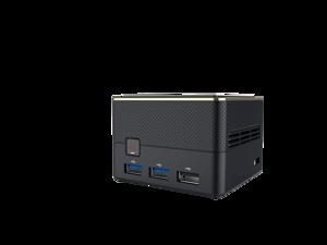 ECS Elitegroup LIVA Q3 Plus Mini PC Computer AMD R1505G, 4GB DDR4, 64GB eMMC, USB 3.2, LAN + WiFi 802.11ac + Bluetooth 4.1, Dual Display HDMI + mini DP 1.4, MicroSD up to 128GB, 74x74mm, Black