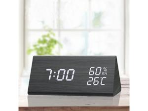 Digital Clock, 3 Alarm Settings, with Wooden Electronic LED Time Display, Dual Temperature & Humidity Detect, Ideal for Bedroom, Bedside Kids, Batteries not Needed