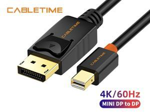 CABLETIME Mini DisplayPort to DisplayPort Cable Mini DP to DP Cord Support Video and Audio,Thunderbolt Compatible for Surface Pro 5 / Pro 4 / Pro 3, MacBook Air,etc (10 Feet/3m, Black)