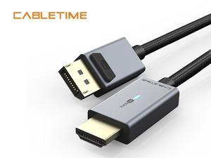 Cabletime Display Port to HDMI Adapter with Indicator Light, HD 4K@60Hz 1.8M 5.9 F DP to HDMI Male to Male Cable Compatible for Lenovo Dell HP and Other Brand