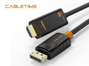 CABLETIME DisplayPort to HDMI Cable 4K@60Hz Male to Male Gold-plated DP to HDMI Video Cable (6FT/1.8M)