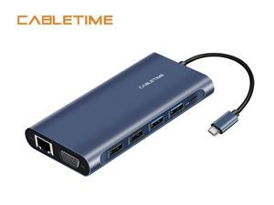 Cabletime USB C Hub 12 in 1 Type C Hub HDMI2.0 4K USB 3.0 Ports 100W Power Delivery SD/TF Card Readers Lan Port VGA Port Compatible with MacBook/Pro/Air