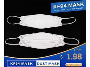 10 Pcs White Adults KF94 KN95 mask Respirator 4 Layers FFP2 Fusion Filters Dust Protector Masks Earhook Mask Korean Fish Mouth Mask PM2.5 Dust Mask