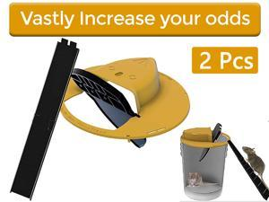 2 Piece Slide Bucket Lid Mouse/Rat Trap with Ramp, Auto Reset Multi Catch for Indoor Outdoor, Compatible 5 Gallon Bucket, Mouse Trap Compatible, Humane or Lethal Bucket Trap No See Kill