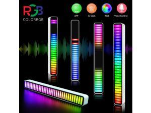 Smart LED Light Bars,RGB Music Level Indicator Light Voice Sound Control Audio, Built-in Battary, 32 Bit for Car Gaming, PC, TV, Room Sound control ambient light pickup light(Silver)