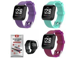 For  Versa 2 Silicone 3-PACK Band Straps Small Tempered Glass Teal Purple