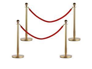 High Grade 2/4/6 PCS Stanchion Post Queue Pole Red Belt Crowd Control Barrier US