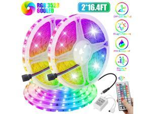 32FT Flexible LED Strip Light 3528 RGB SMD Remote Fairy Lights Room TV Party Bar