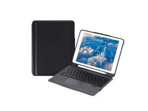 iPad Case with Wireless Keyboard Touch Pad Apple Pencil Holder for iPad Air2/iPad Pro 9.7/iPad 9.7(2017/2018) (Black-Black)