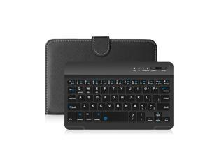 Portable PU Leather BT Wireless Keyboard with Protective Case Cover For 4.5-6.8inch Mobile Phones Black Keyboard