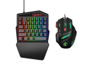 35 Buttons Gaming Keyboard Mechanical Keyboard and Mouse Kit Backlight Gaming Key-Pad Mouse Set Mobile Phones Game Accessories