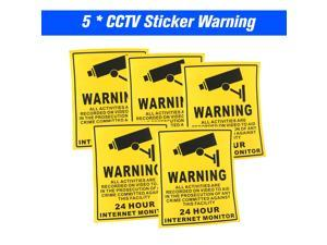 5pcs/lot Safurance Waterproof Sunscreen PVC CCTV Video Surveillance Security Camera Alarm Sticker 24 Hour Monitor Camera Warning Stickers Decal Sign Lables