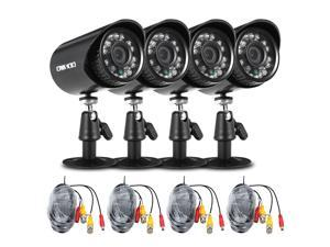 OWSOO  4*720P 1500TVL AHD Waterproof CCTV Camera + 4*60ft Surveillance Cable Support IR-CUT Night View 24pcs Infrared Lamps 1/4'' CMOS for Home Security NTSC System