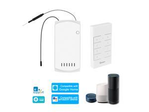 SONOFF IFan03+RM433 Ceiling Fan Controller Smart Switch Controller with RF Remote WiFi Smart Ceiling Fan Light Controller APP Remote Control ON /OFF Control Fan Compatible with Alexa Google Home/Nest