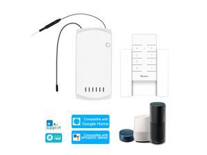 SONOFF IFan03+RM433+Base Ceiling Fan Controller Smart Switch Controller with RF Remote & Base WiFi Smart Ceiling Fan Light Controller APP Remote Control ON /OFF Control Fan Compatible with Alexa