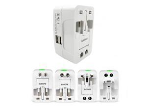 All-In-One Universal World Wide Travelling AC Adapter Plug (AU/UK/US/EU) International Power Charger Electric USB Power Plug Socket Adaptor Converter,(1 Pack, White)