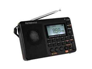 Retekess V-115 FM/AM/SW Radio Multiband Radio Receiver REC Recorder Bass Sound MP3 Player Speakers with Sleep Timer Black