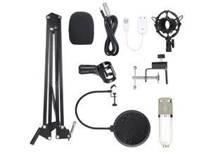 BM800 Condenser Microphone Lit Pro Audio Studio Recording & Brocasting Adjustable Mic Suspension Scissor Arm Pop Filter