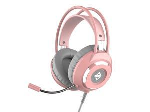Ajazz AX120 - 7.1 Channel Stereo Gaming Headset Noise Cancelling Over Ear Headphones with Mic Bass Surround Soft Memory Earmuffs 50mm Drivers Pink