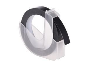 3D Plastic Embossing Label Tape Refill for DYMO 12965 1610 Label Maker with 3/8 Inch * 9.8 feet, 1 Roll Black