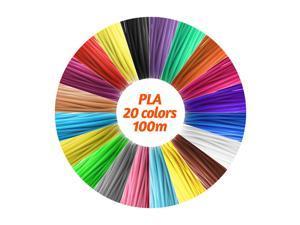 IDRAWING High-Precision 1.75mm PLA Filament Eco-friendly Material 3D Pen Filament Refills 20 Colors (Total 328FT))