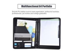 Multifunctional Professional Business Portfolio Padfolio Folder Document Case Organizer A4 PU Leather Zippered Closure Loose-leaf Loop with Business Card Holder Memo Note Pad