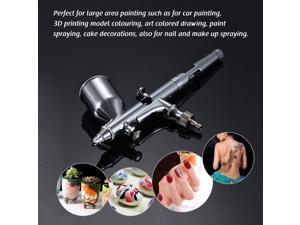 TD-181 Professional Multi-Purpose Gravity Feed Dual-Action Airbrush Kit Set 0.30mm Nozzle 13cc Capacity Trigger Spray Pen for Art Craft Paint Spraying 3D Printing Model Car Painting Nail Arts Body