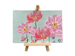 DIY Picture Painting by Numbers Oil Painting Kit 5.9*3.9 Inch with Bright Acrylic Pigment Brush Wooden Easel Stand for Kids Students Beginner Gift