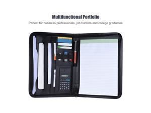 Multifunctional Professional Business Zippered Portfolio Padfolio Folder Document Case Organizer A4 PU Leather with Calculator Business Card Holder Memo Note Pad