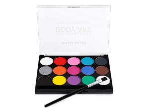 Face Paint Kit Professional Water Based Body Paint 15 Colors Washable Non-Toxic Paints 1 Paintbrush for Kid Sensitive Skin Halloween Costume Makeup Party Supplies